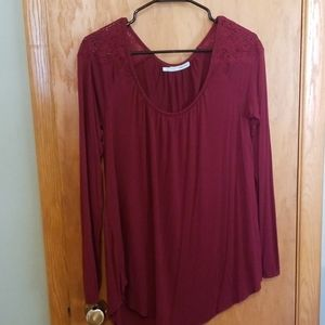 Maurices Cranberry Lace Sleeve Top